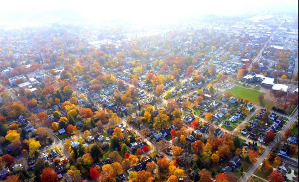 Aerial view of Wooster's Historic Quinby Neighborhood